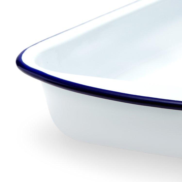 Falcon Enamel Lasagna Pan 46cm White/Blue Rim