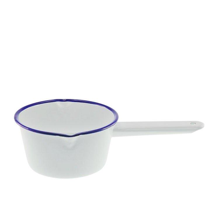 Falcon Enamel Milk Pan 850ml White/Blue Rim