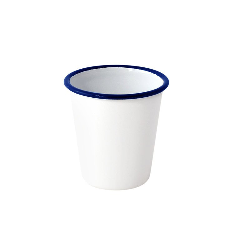 Falcon Enamel Mini Tumbler 300ml White/Blue Rim