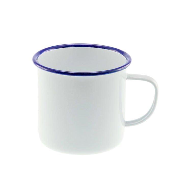 Falcon Enamel Mug 350ml White/Blue Rim