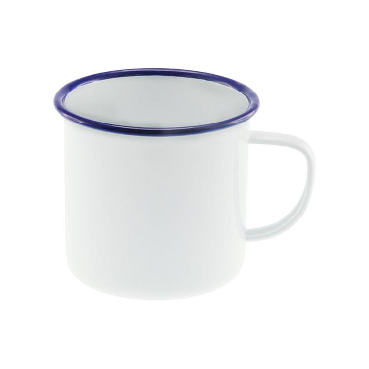 Falcon Enamel Mug 500ml White/Blue Rim