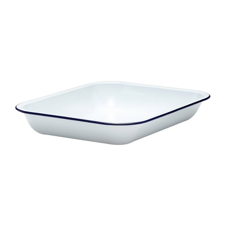 Falcon Enamel Oblong Bake Pan 37x30cm White/Blue Rim