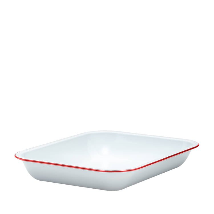Falcon Enamel Oblong Bake Pan 37x30cm White/Red Rim