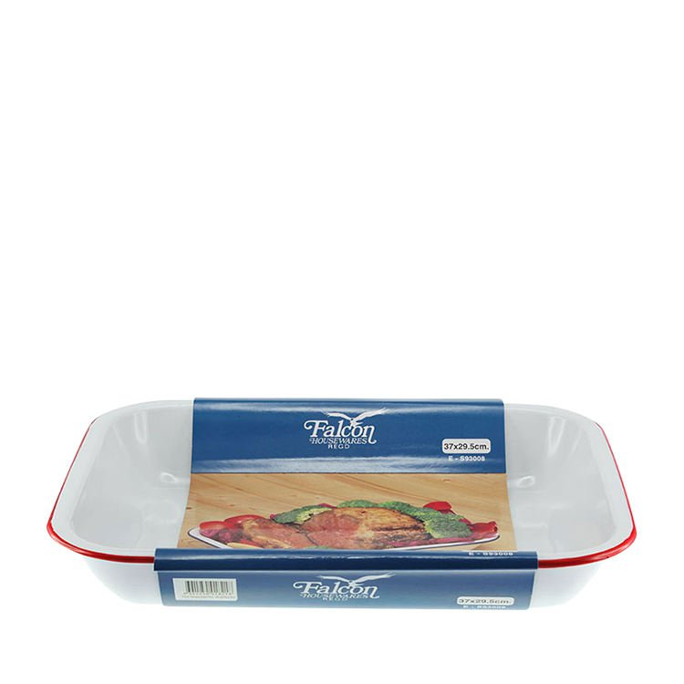 Falcon Enamel Oblong Bake Pan 37x30cm White Red Rim