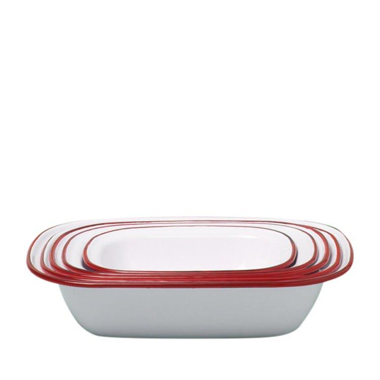 Falcon Enamel Oblong Pie Dish Set 5pc White/Red Rim