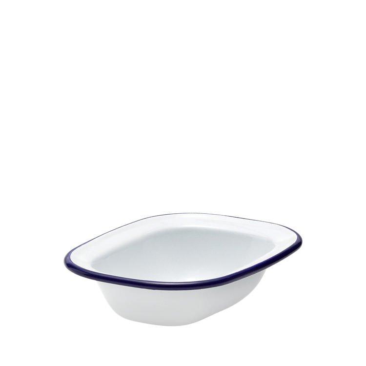 Falcon Enamel Pie Dish 16x12cm White/Blue Rim