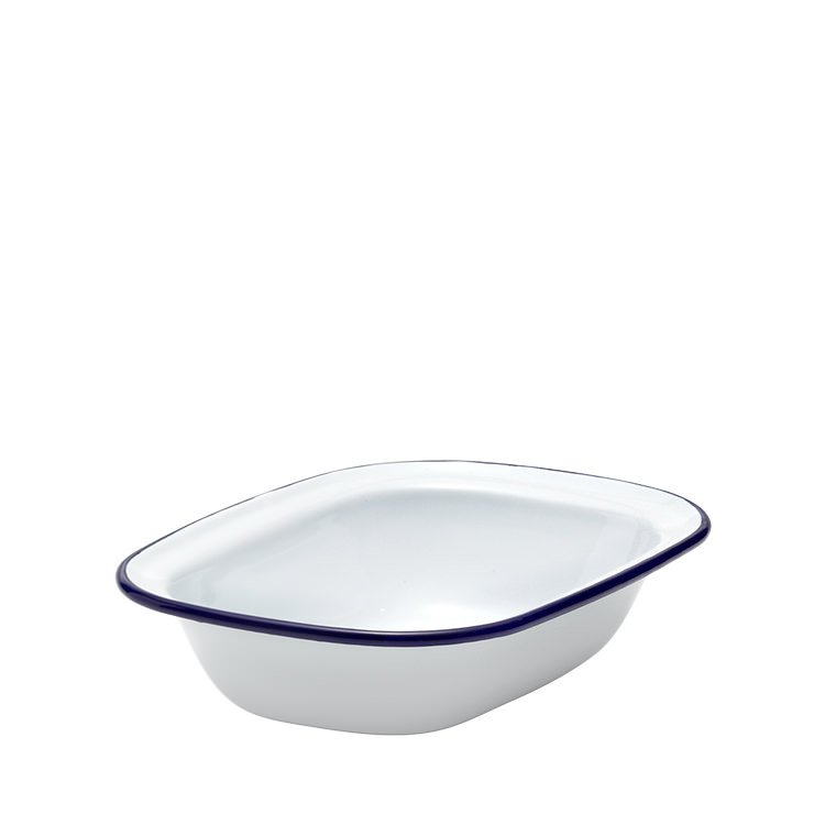 Falcon Enamel Pie Dish 20x15cm White/Blue Rim
