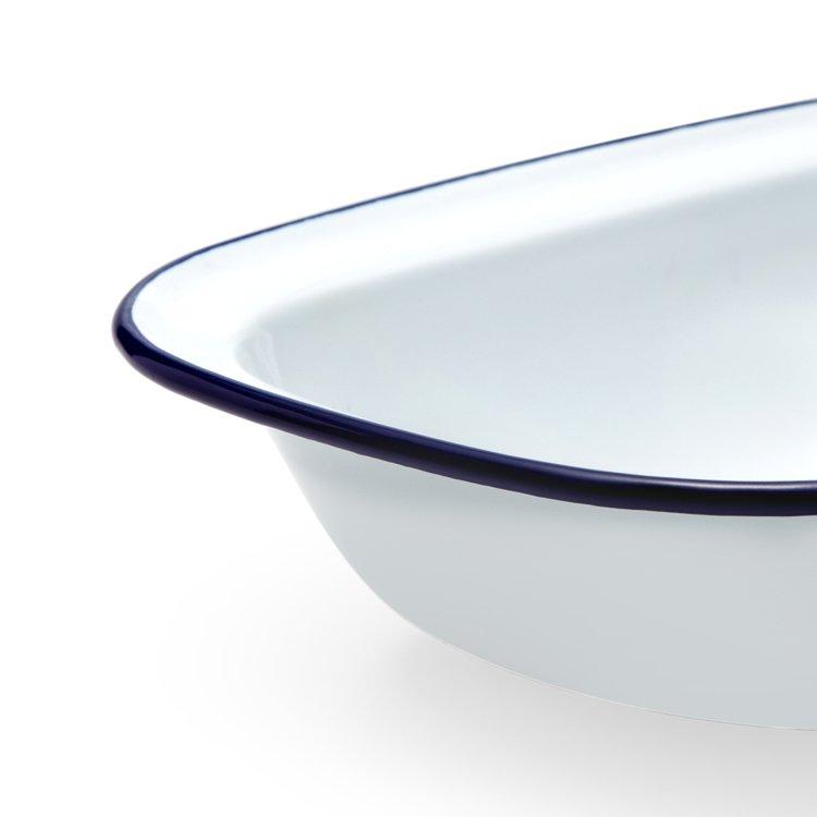 Falcon Enamel Pie Dish 24x18cm White/Blue Rim