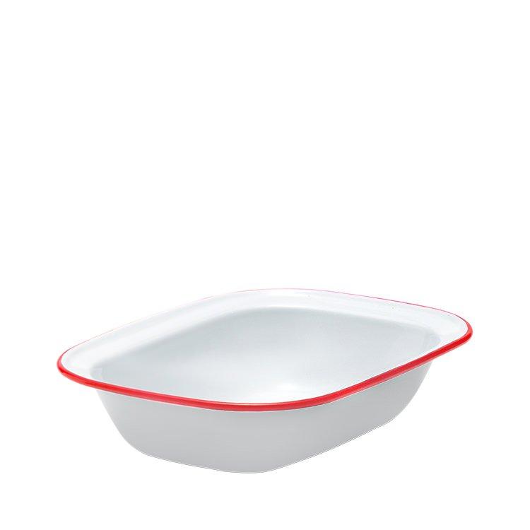 Falcon Enamel Pie Dish 28x21cm White/Red Rim