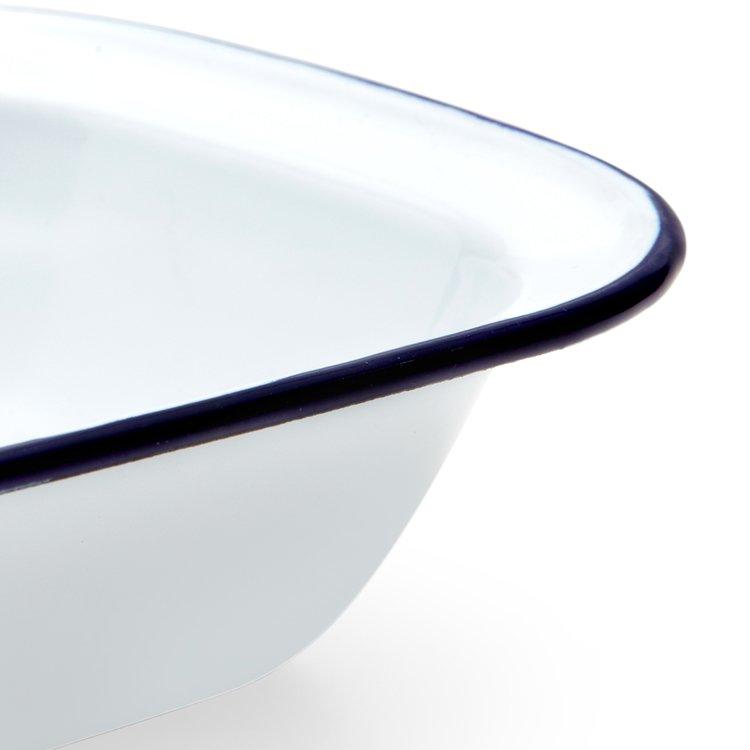 Falcon Enamel Pie Dish 28x21cm White/Blue Rim