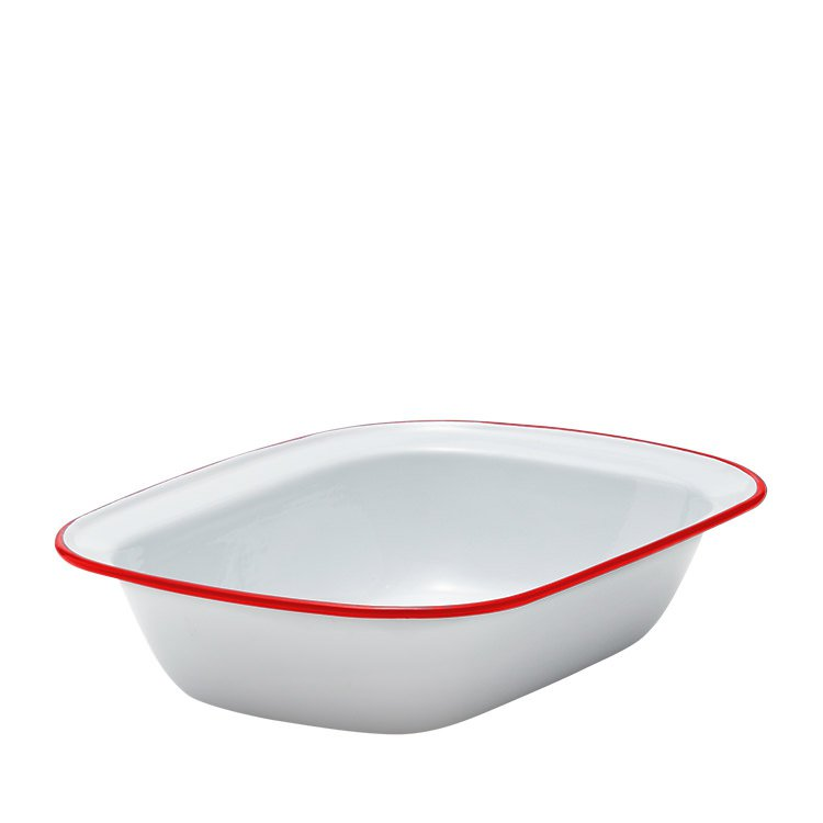 Falcon Enamel Pie Dish 32x24cm White/Red Rim