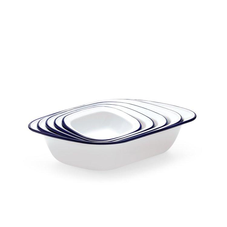 Falcon Enamel Pie Dish 32x24cm White/Blue Rim