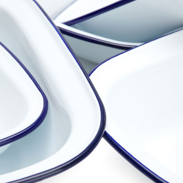 Falcon Enamel Oblong Pie Dish 5pc Set White/Blue Rim