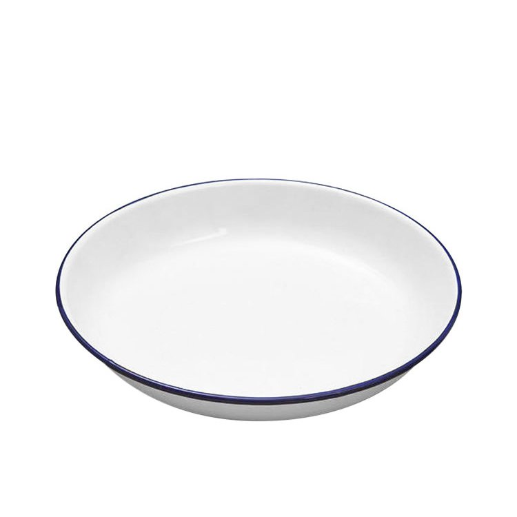 Falcon Enamel Pasta Plate 24cm White/Blue Rim