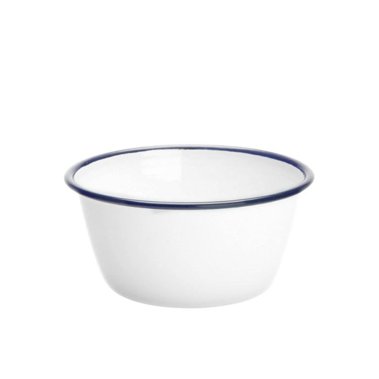 Falcon Enamel Pudding Basin 15cm White/Blue Rim