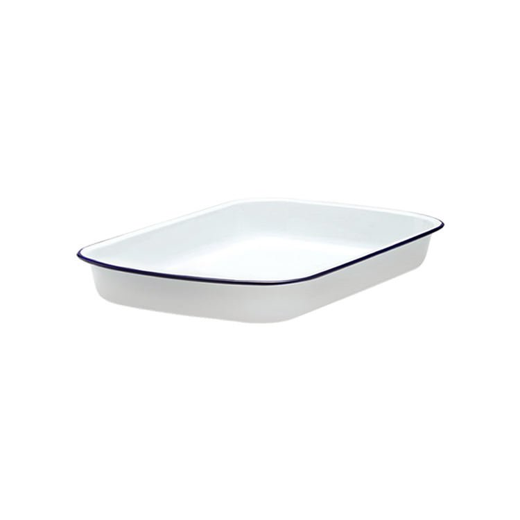 Falcon Enamel Rectangle Baking Tray 24x18cm White/Blue Rim