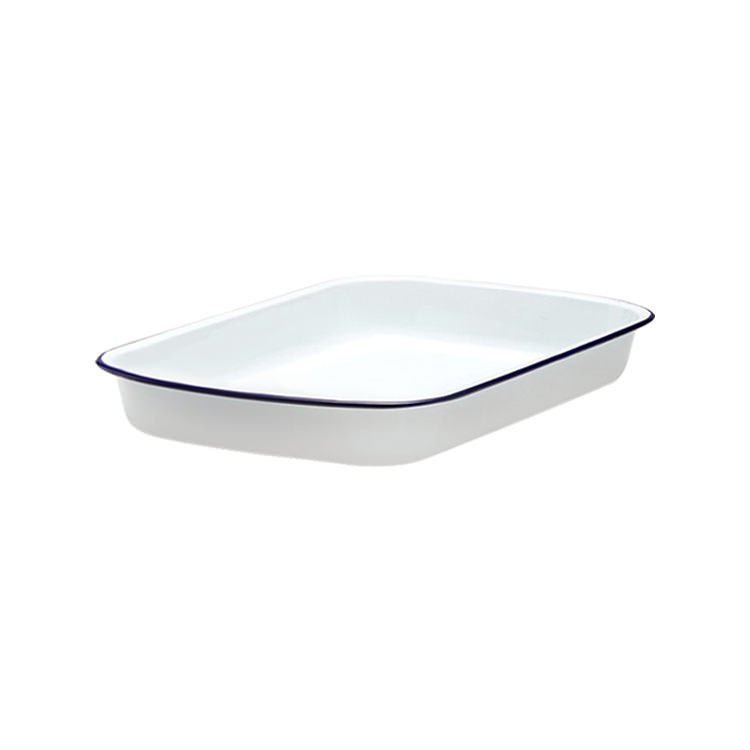 Falcon Enamel Rectangle Baking Tray 28x22cm White/Blue Rim