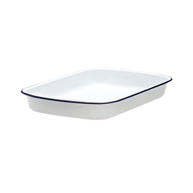 Falcon Enamel Rectangle Baking Tray 31x27cm White/Blue Rim