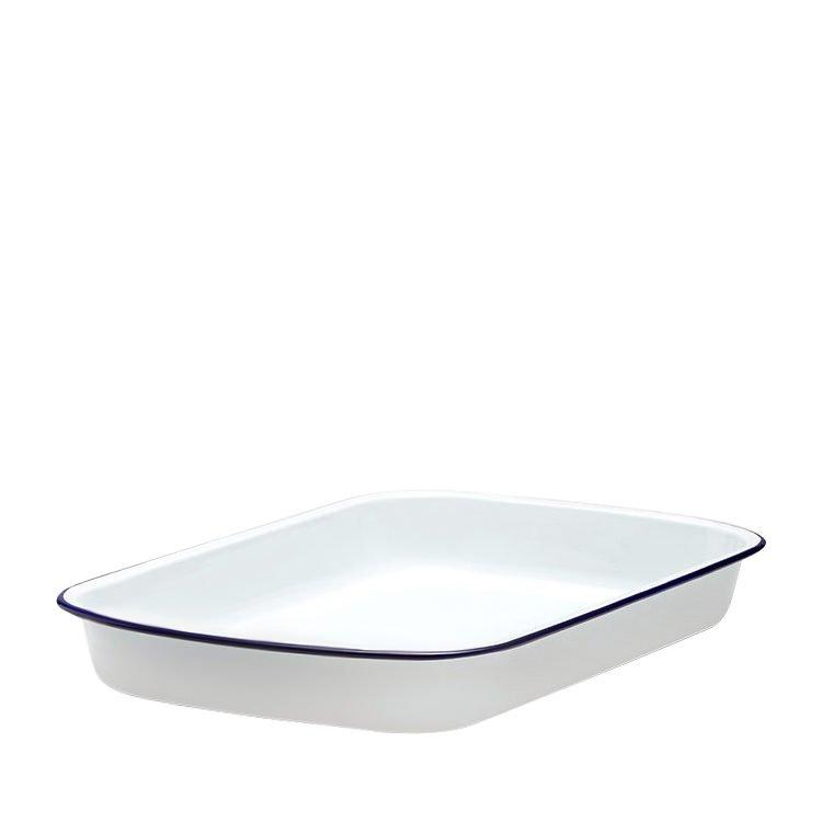 Falcon Enamel Rectangle Baking Tray 41x32cm White with Blue Rim