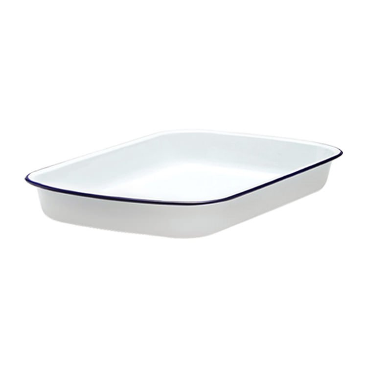 Falcon Enamel Rectangle Baking Tray 41x32cm White/Blue Rim