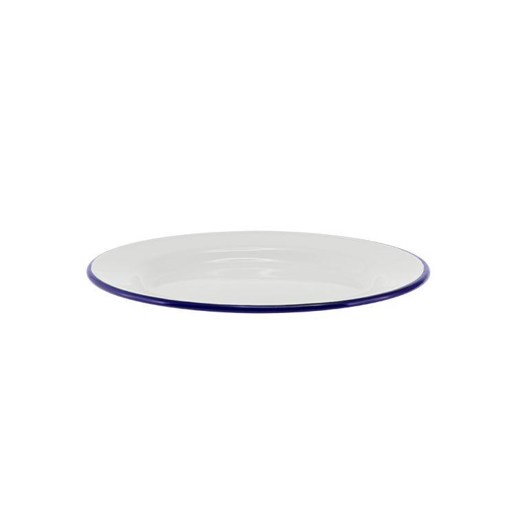 Falcon Enamel Side Plate 20cm White/Blue Rim