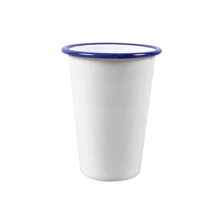 Falcon Enamel Tall Tumbler  450ml White/Blue Rim