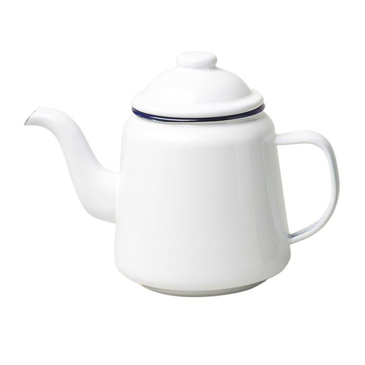 Falcon Enamel Teapot 1.5L White/Blue Rim