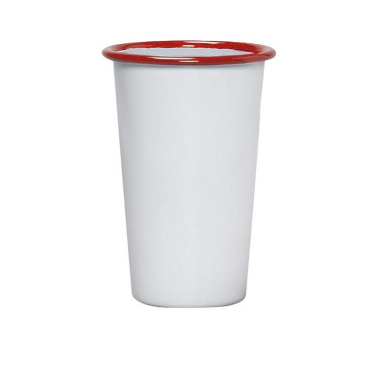 Falcon Enamel Tumbler 750ml White/Red Rim