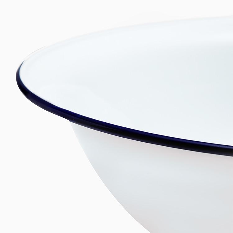 Falcon Enamel Wash Basin 40cm White/Blue Rim