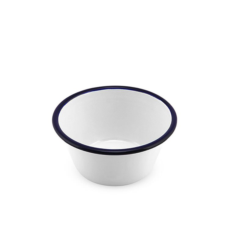 Falcon Enamel Pudding Basin 12cm White/Blue Rim