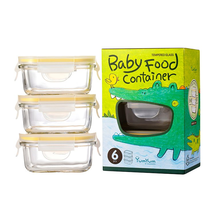 Glasslock Rectangle Baby Food Container 3pc Set 150ml