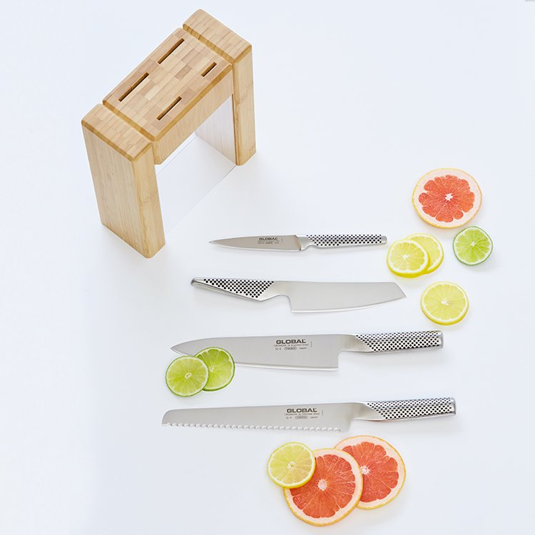 Global Teikoku 5pc Knife Block Set