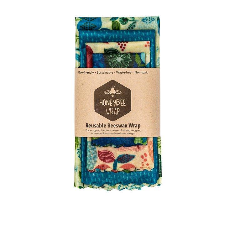 HoneyBee Wrap Reusable Beeswax Wraps 4 Pack