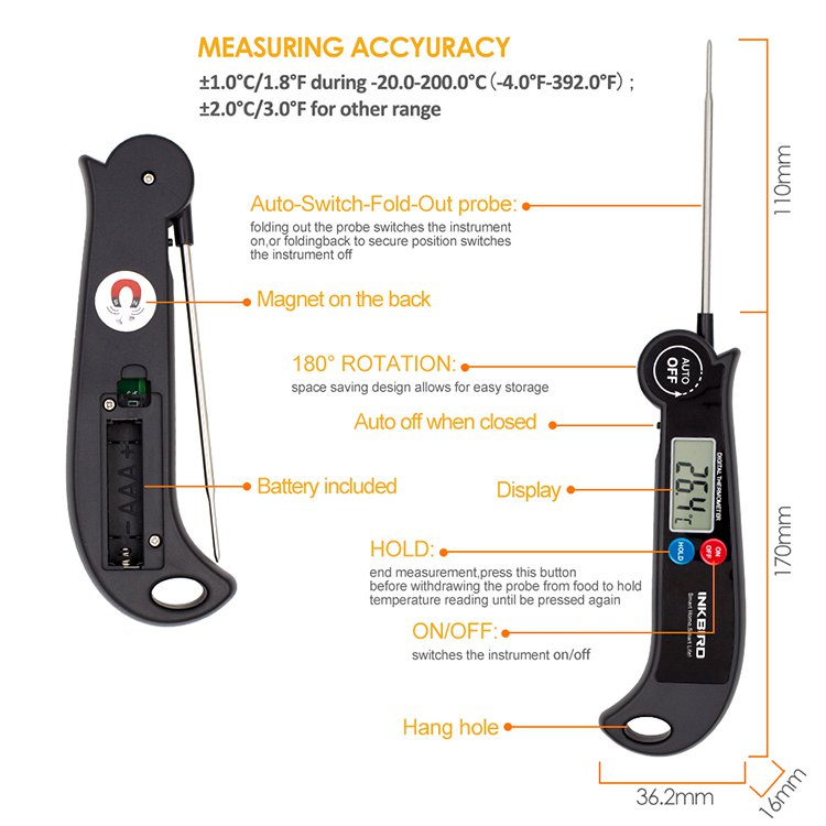 Inkbird HET-F001 Digital Fast Read Thermometer w/ Foldable Probe image #4