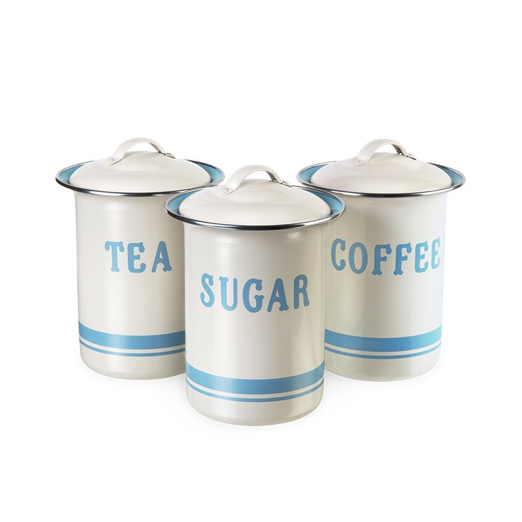 Jamie oliver canister gift 3pc set tea coffee sugar on sale now - Coffee tea and sugar canisters ...
