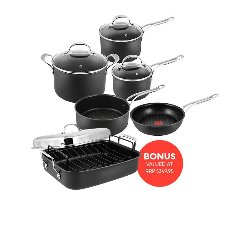 Jamie Oliver Hard Anodised Induction Professional Series 5pc Cookware Set w/ Roaster