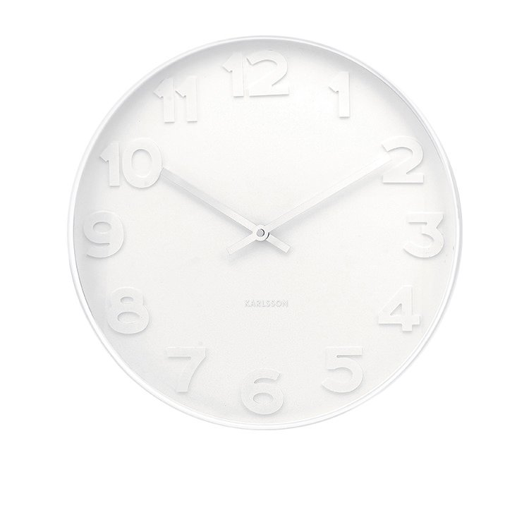 Karlsson Mr White Numbers White Wall Clock Large Fast