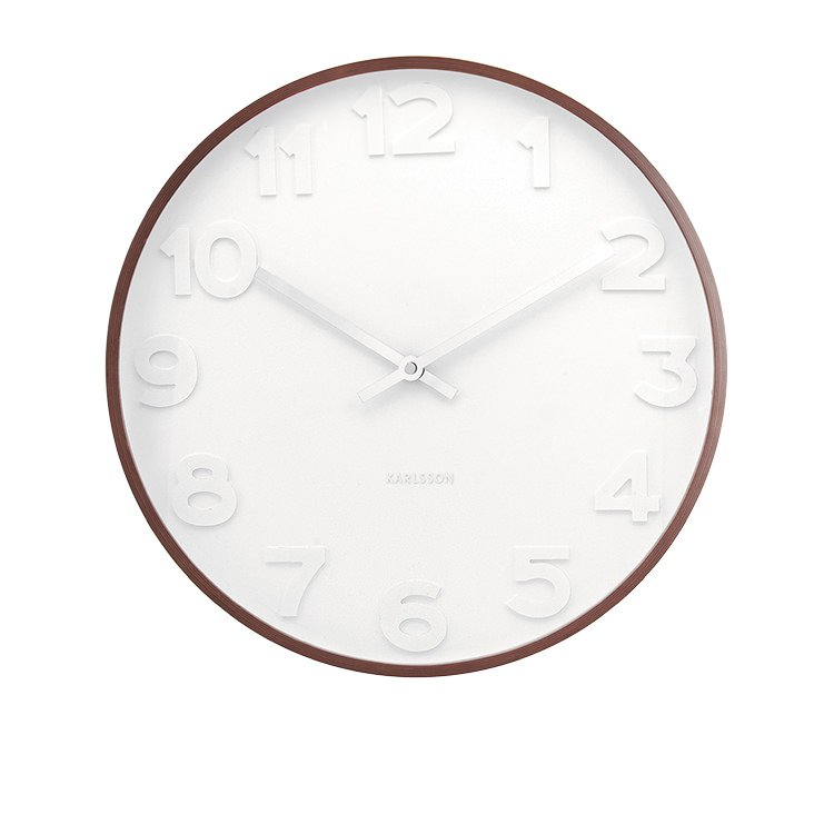 karlsson mr white numbers wood wall clock large