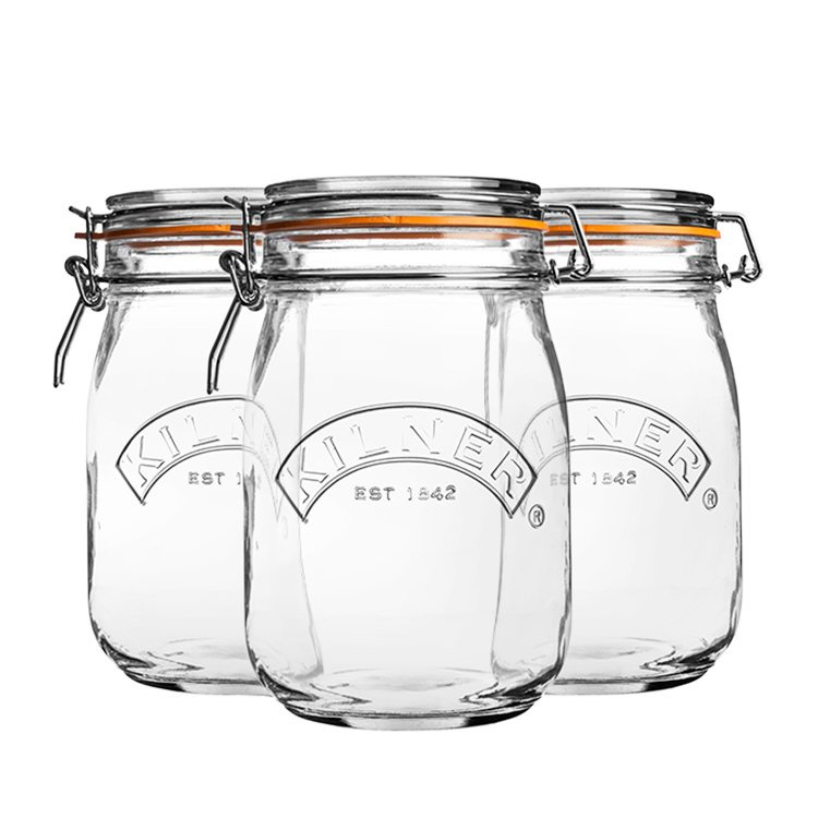 Kilner Clip Jar Round Set of 3 1L
