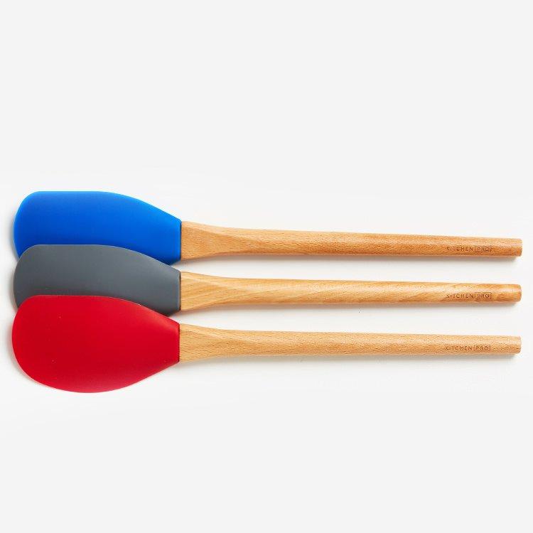 Kitchen Pro Oslo Silicone Large Spatula w/ Beechwood Handle Red