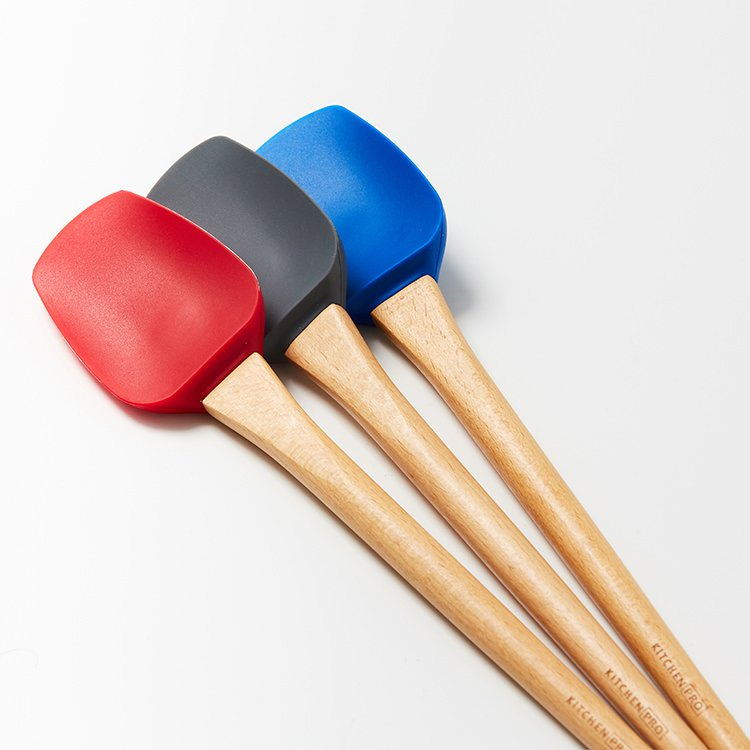 Kitchen Pro Oslo Silicone Medium Spatula Spoon w/ Beechwood Handle Red