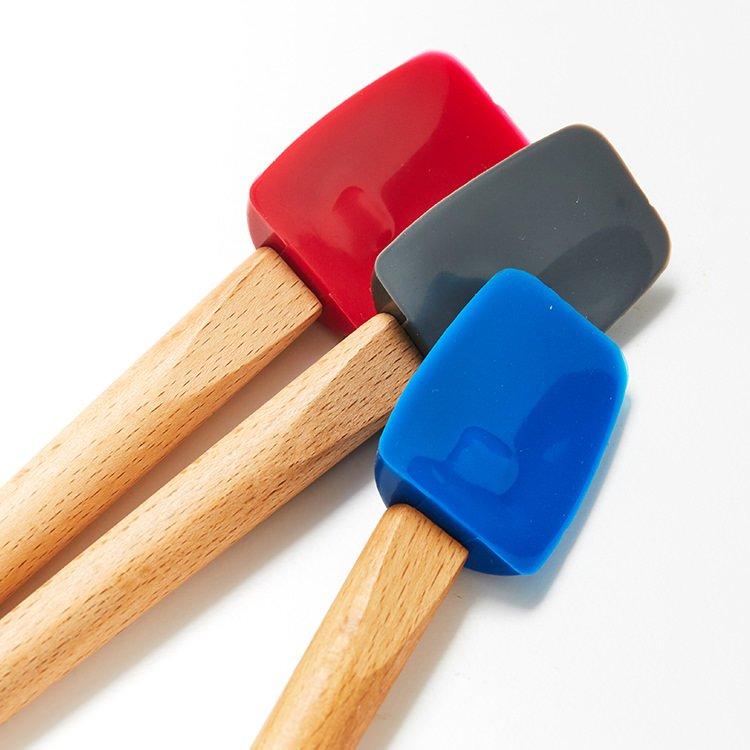 Kitchen Pro Oslo Silicone Mini Spatula Spoon w/ Beechwood Handle Red