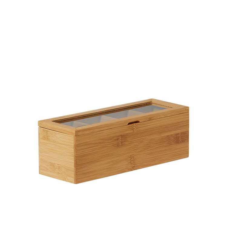 Kitchen Pro Eco Tea Box 4 Compartment 26.5x9x9cm Natural image #2