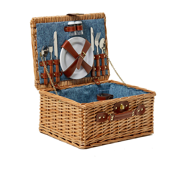Kitchen Warehouse Oak Picnic Basket 2 Person Denim