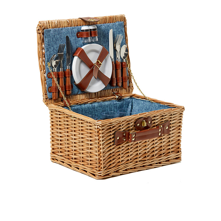 Kitchen Warehouse Oak Picnic Basket 4 Person Denim
