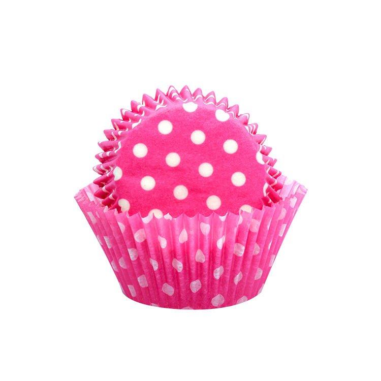Lemon Tree Patty Pans Polka Dots Pink 50pk