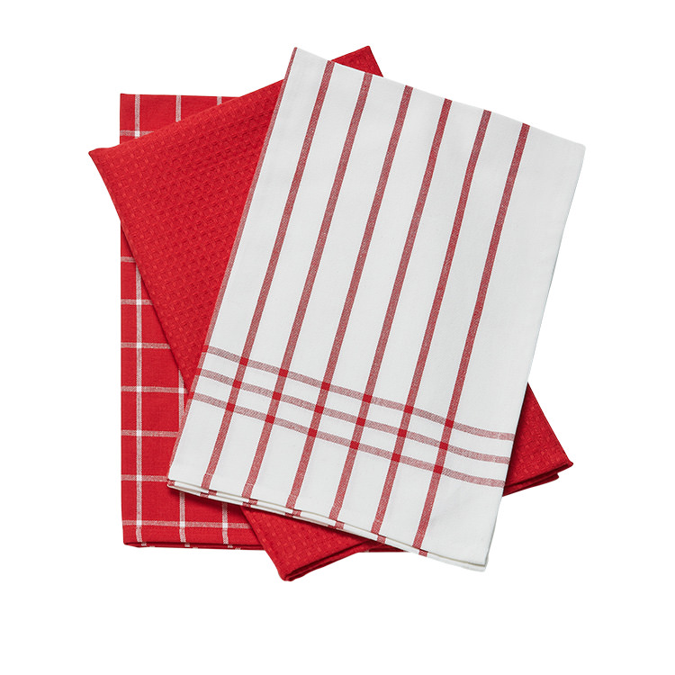 Tidy Pro Classic Tea Towel Set of 3 Red