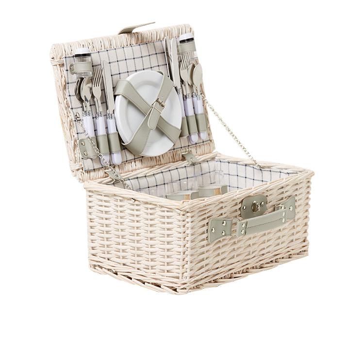 Kitchen Warehouse White Wash Picnic Basket 4 Person Checkered