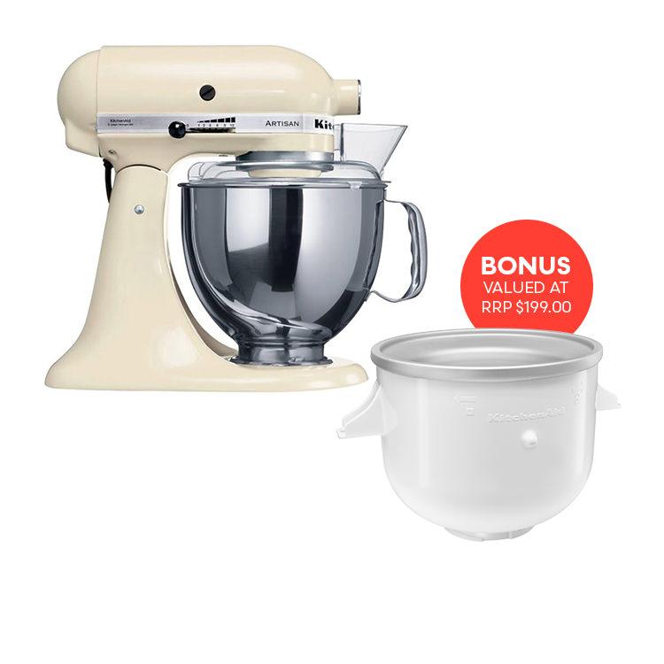 KitchenAid Artisan KSM150 Stand Mixer Almond Cream w/ Ice Cream Bowl Attachment