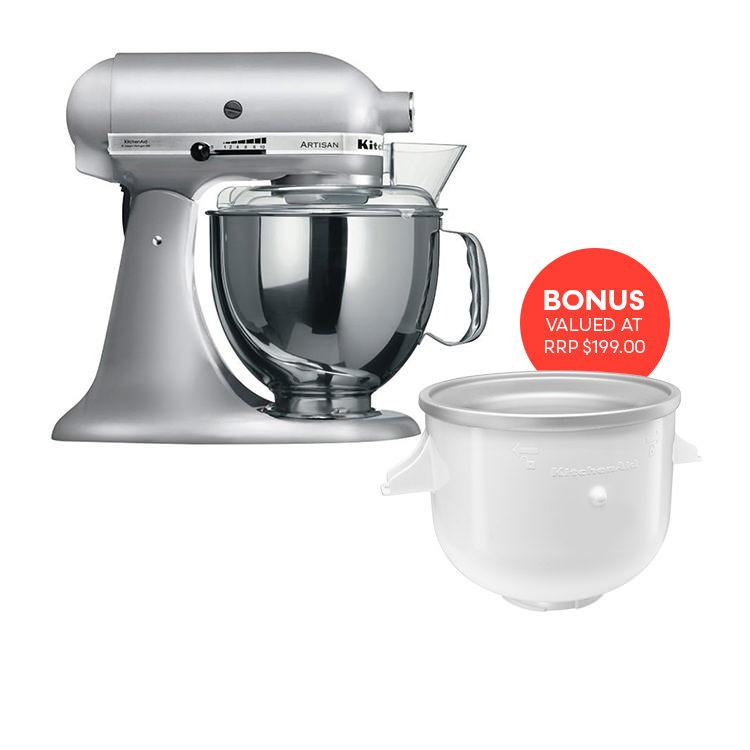 KitchenAid Artisan KSM150 Stand Mixer Contour Silver w/ Ice Cream Bowl Attachment